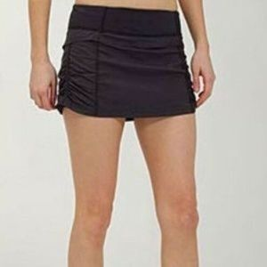 Lululemon Black Ruched Running Skort Skirt Sz 6